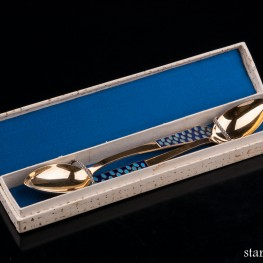 Чайные ложки, серебро, золочение, 2 шт, СССР, сер. 20 в