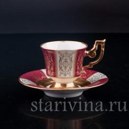 Фарфоровая Кофейная пара, красная с золотом, Heinrich & Co, Германия, сер. 20 в.