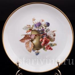 Декоративная фарфоровая тарелка Груша, смородина и ежевика, Rosenthal, Германия, 1920 гг.