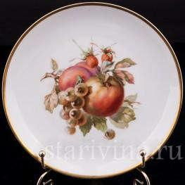 Декоративная фарфоровая тарелка Яблоко, персик и виноград, Rosenthal, Германия, 1920 гг.